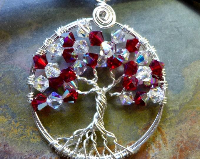 Sterling Silver Swarovski Crystal Tree of Life Necklace, Wire Wrapped Tree of Life  Necklace, July Birthstone,Valentine Gifts for Her