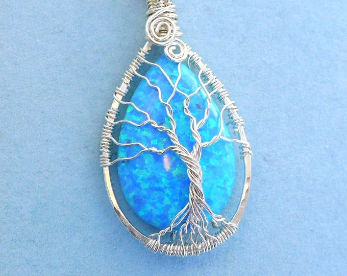 Opal Necklace,Blue Opal Necklace, Silver Opal Tree of Life Necklace, October Birthstone Necklace,Opal Gift for Her,Holiday Gift,Opal Pendant