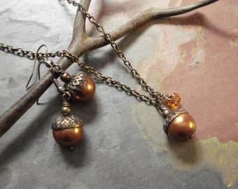 Acorn Copper Brass Necklace and Earring Set-Fall/Autumn jewelry, Bridal/Bridesmaid Necklace and Earring SET,