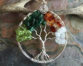 Four Seasons Tree, Tree of life Necklace four Seasons in Sterling Silver, Peridot, Dark Jade, Citrine, Moonstone Tree of Life Necklace,