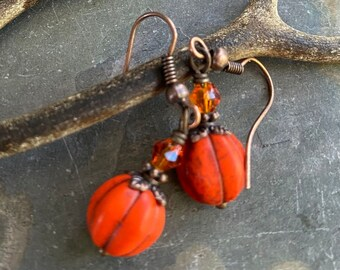 Pumpkin Earrings, Orange  Dangling Earrings, Carved Orange Pumpkin Crystal Earrings-Halloween, Fall, Autumn Harvest, Thanksgiving Earrings.