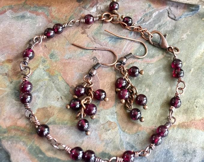 Garnet Bracelet,Linked Wrapped Genuine Garnet Gemstone Bracelet Copper,Garnet Earrings,January Birthstone Bracelet,Garnet Earrings in Copper