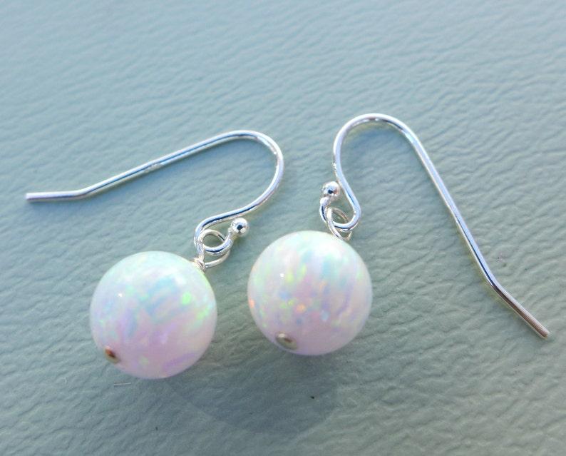Opal EarringsWhite Opal Earrings Sterling Silver October image 0