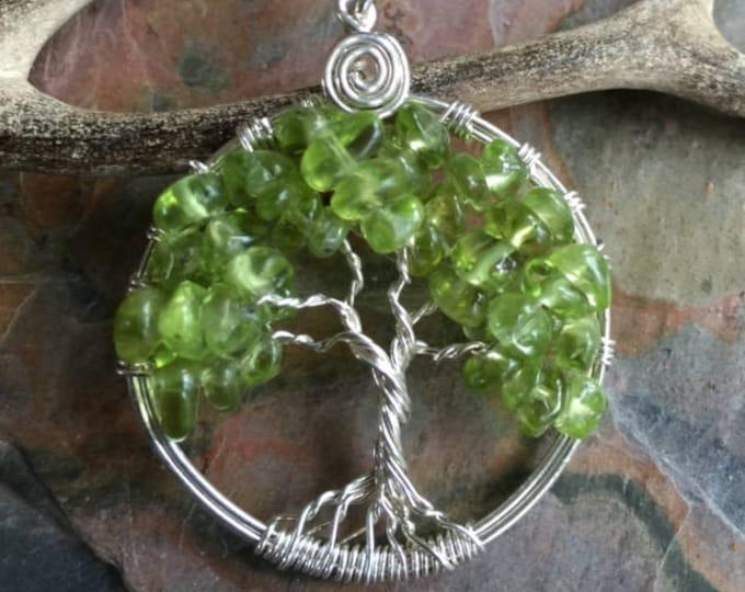Green Tree Necklace,Petite/Small Peridot Tree of Life Pendant,Wire Wrapped Peridot Gemstone Tree of life- August Birthstone Tree of Life