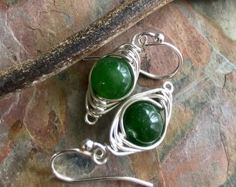 Emerald Earrings Sterling Silver,Wire Wrapped Herringbone Emerald Earrings,Emerald Dangle Earrings,May Birthstone earrings in Gold/Copper