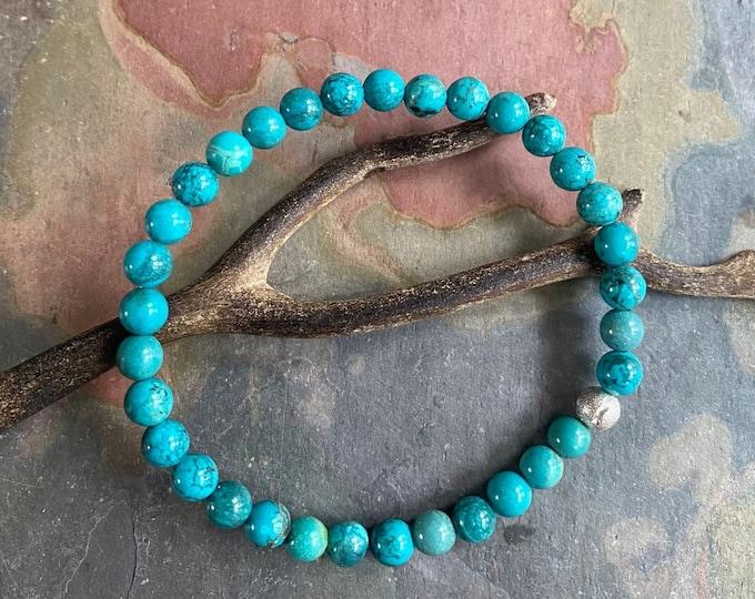 6 mm Natural Turquoise Bracelet,Turquoise  Stretch Bracelet with silver accent bead,December Birthstone Bracelet,Yoga Bracelet,