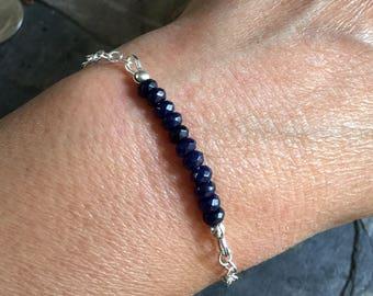 Sapphire Bracelet in Sterling Silver, Blue Sapphire Bracelet,Sapphire Necklace,September Birthstone Necklace,Sapphire Tree of Life Necklace,