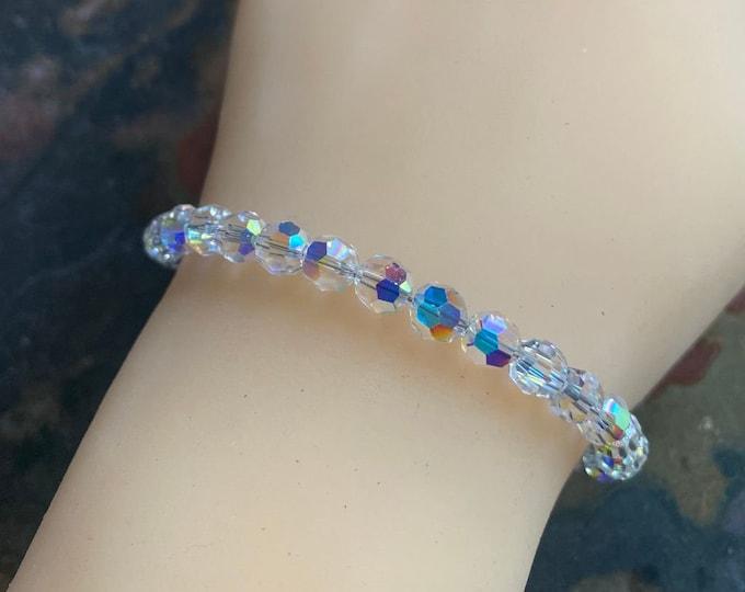 Swarovski 6 mm Crystal Bracelet in Sterling Silver Clasp, Wedding/Bridal Crystal Bracelet, Crystal Bracelet, Crystal Jewelry,