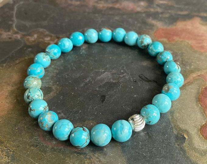 8 mm Blue Turquoise Bracelet Adjustable,December Birthstone Bracelet ,Yoga Healing Stretch Bracelet, Turquoise beaded  Bracelet