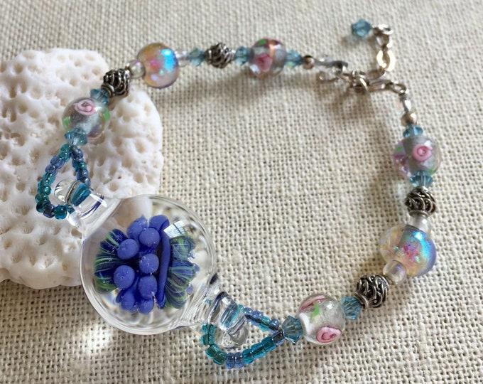 Blue Lampwork Bead Sterling Silver Bracelet,Artisan Handmade Blue Lapmwork Glass Sterling Silver Bracelet,Lampwork Bracelet,Lampworl Jewelry
