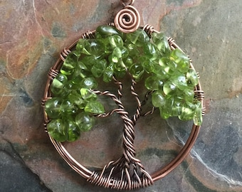 Peridot Tree of Life Antiqued Copper Necklace,Peridot Tree of Life Pendant,Wire Wrapped Peridot Necklace,August Birthstone Tree of Life
