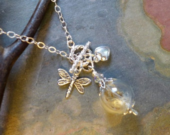 Dandelion Heart Dragonfly Charm Pendant Necklace,Dandelion Seed Pearl Sterling Silver Lariat Necklace-Wish Necklace, Glass Wish Necklace,
