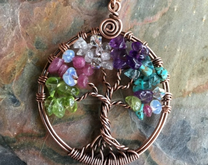 Family Tree of Life Necklace in Antiqued Copper,Custom Tree of Life Jewelry, Tree of Life Necklace with Birthstones,Birthstone Gift for Mom