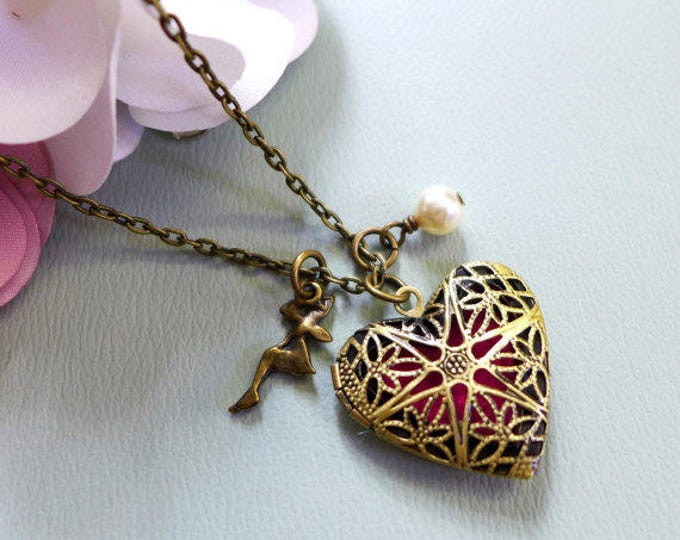 Antiqued Brass Heart Aromatherapy Necklace with Pearl, Fairy Tale Charm, Essential Oil Diffuser Locket Pendant Necklace