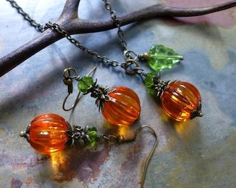 Orange Pumpkin Necklace, Earrings, Halloween/Fall/Autumn Harvest Pumpkin Necklace and Earring SET, Thanksgiving Jewelry, Bridesmaid jewelry