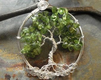 STERLING SILVER Tree of Life Necklace, AUGUST Peridot Necklace,Peridot Tree of Life Pendant,August Birthstone Jewelry, Green tree