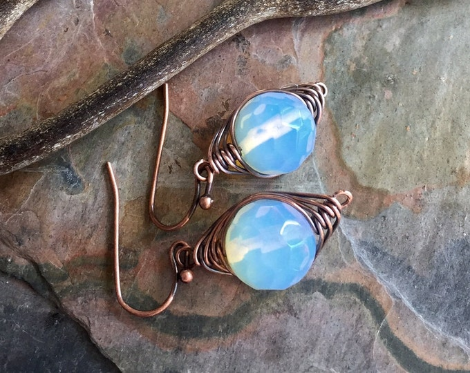 Wire Wrapped Opalite Earrings in Antiqued Copper, Wire Wrapped Blue Opalite Herringbone Earrings, Opalite Danging Earrings in Copper