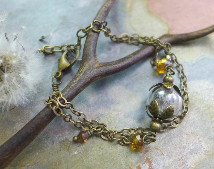 Dandelion Bracelet, Real Dandelion Flower Brass Bracelet ONLY, Necklace,Earrings,Wish Bracelet, Orb Jewelry,Gift, Wish Gift,