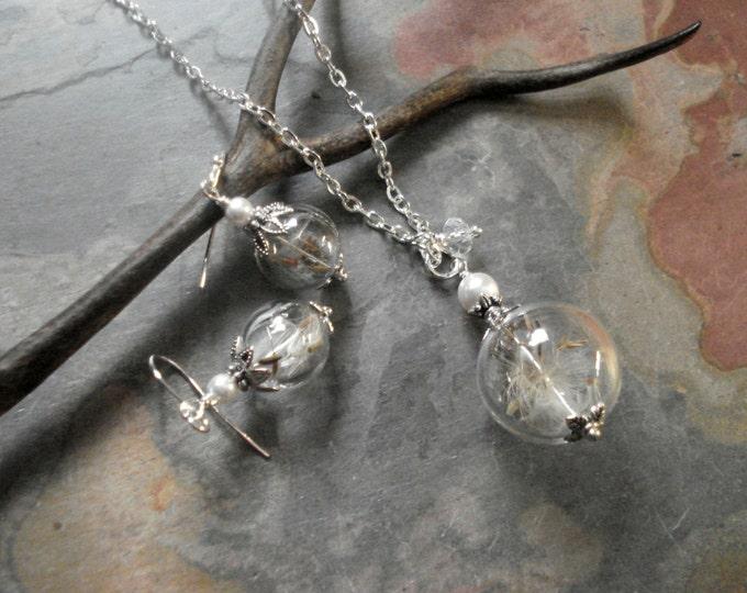 Dandelion Seed Crystal Pearl Silver Necklace, Earrings-Make a Wish Dandelion Jewelry, Real Dandelion Seed Birthday necklace, Glass Jewelry