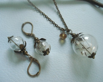 Real/Genuine Dandelion Seed Flower Brass Necklace and Earring SET - Make a Wish Gift, Birthday Gift, Bridemsaid jewelry