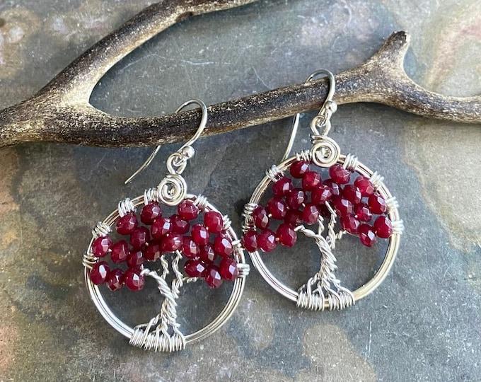 Ruby Tree of Life Earrings in Sterling Silver,Genuine Ruby Earrings,July Birthstone Earrings, Ruby Jewelry, Red Earrings
