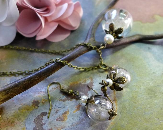 Dandelion Necklace in Brass Necklace, Dandelion Earrings,Make a Wish Jewelry, Bridesmaid jewelry,Bridesmaid Necklace, Clear Orb jewelry
