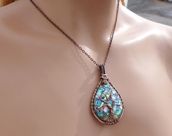 Antiqued Copper Wire Wrapped Abalone Pendant,Abalone Tree of Life Copper wire Pendant Necklace, Abalone Jewelry, Abalone Shell necklace,