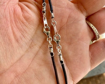 High Quality 1.5 mm Leather Necklace with a Sterling Silver Clasp,Choose Color & length,Custom Leather Necklace,Black Leather, Brown Leather