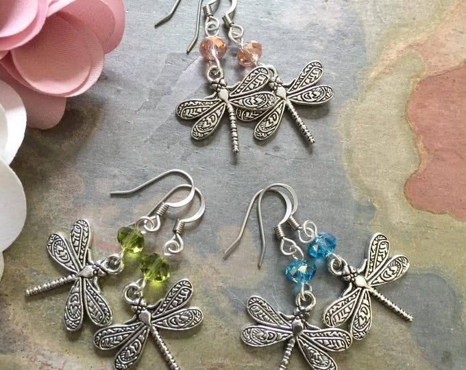 Dragonfly Earrings with Crystals, Dragonfly and Crystal Silver Earrings,Dragonfly Dangle drop Earrings, Insect Jewelry,Woodland Earrings