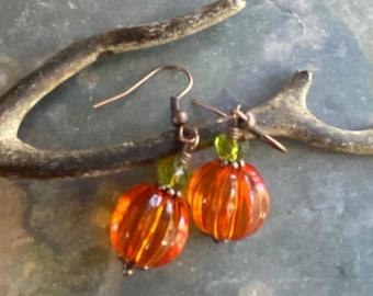 pumpkin Earrings Copper, Orange Pumpkin Earrings, Halloween/Fall/Autumn Harvest Pumpkin Earrings, Thanksgiving Earrings, Fall Earrings