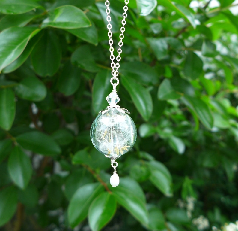 Dandelion Earrings Real Dandelion Pearl Silver Necklace Dandelion Necklace with sterling silver chain a Wish Jewelry,Bridesmaid Necklace,