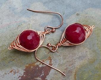 Jade Earrings in Copper, Wire Wrapped Earrings, Red Jade Herringbone Dangle Earrings in Copper, Red Jade Copper Earrings,
