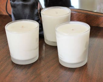 Organic Soy Candle In Three Scents / Lavender, Vanilla Toffee, Lavender Peppermint / Container Glass Jar / Essential Oils / Eco Friendly
