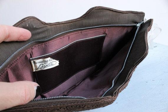 Vintage 1940s Purse / Brown Corde Handbag by Luxo… - image 10