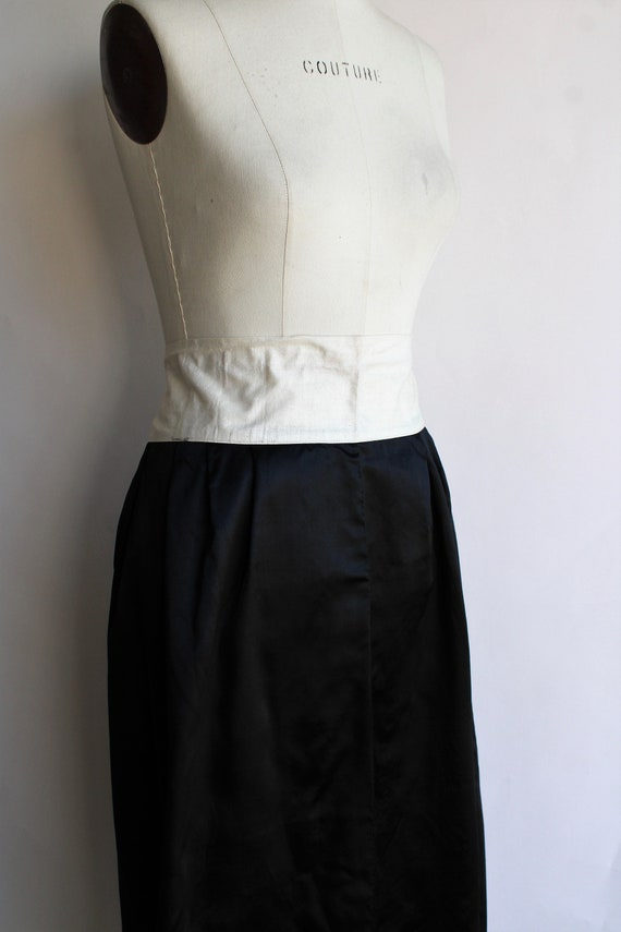 Vintage 1910s Black Skirt / Antique Black Silk Sa… - image 4