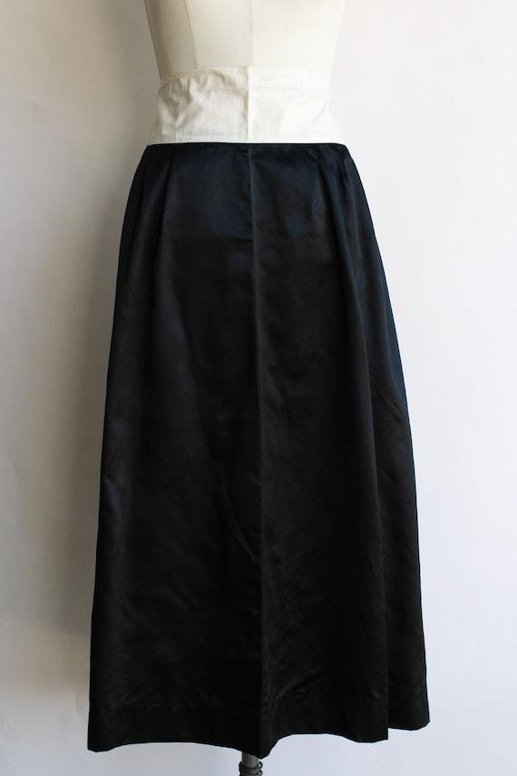 Vintage 1910s Black Skirt / Antique Black Silk Sa… - image 2