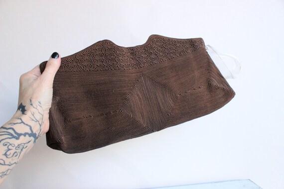 Vintage 1940s Purse / Brown Corde Handbag by Luxo… - image 1