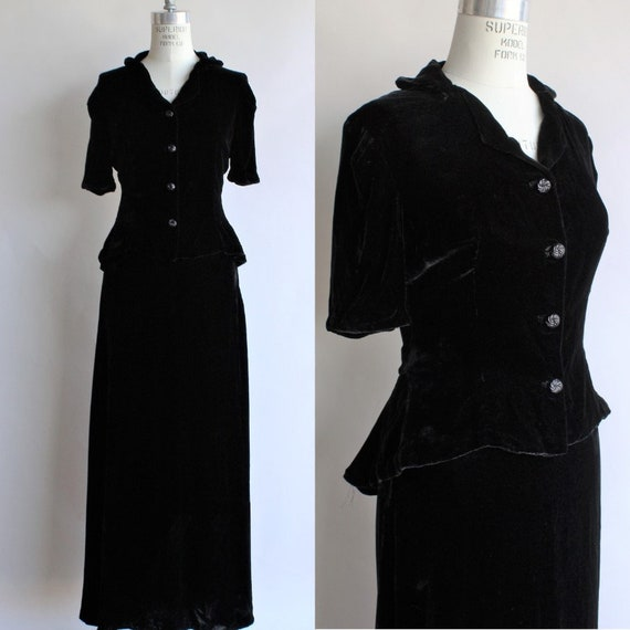 Vintage 1940s Dress Suit / New Look Black Silk Vel