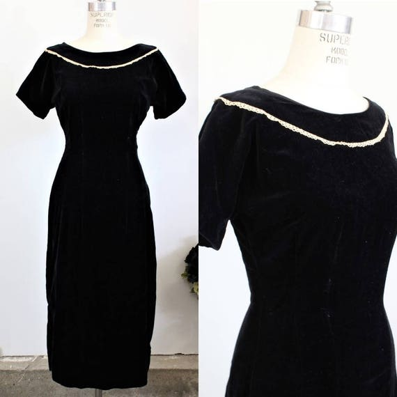 Vintage 1950s Dress / Teena Paige Black Cotton Vel