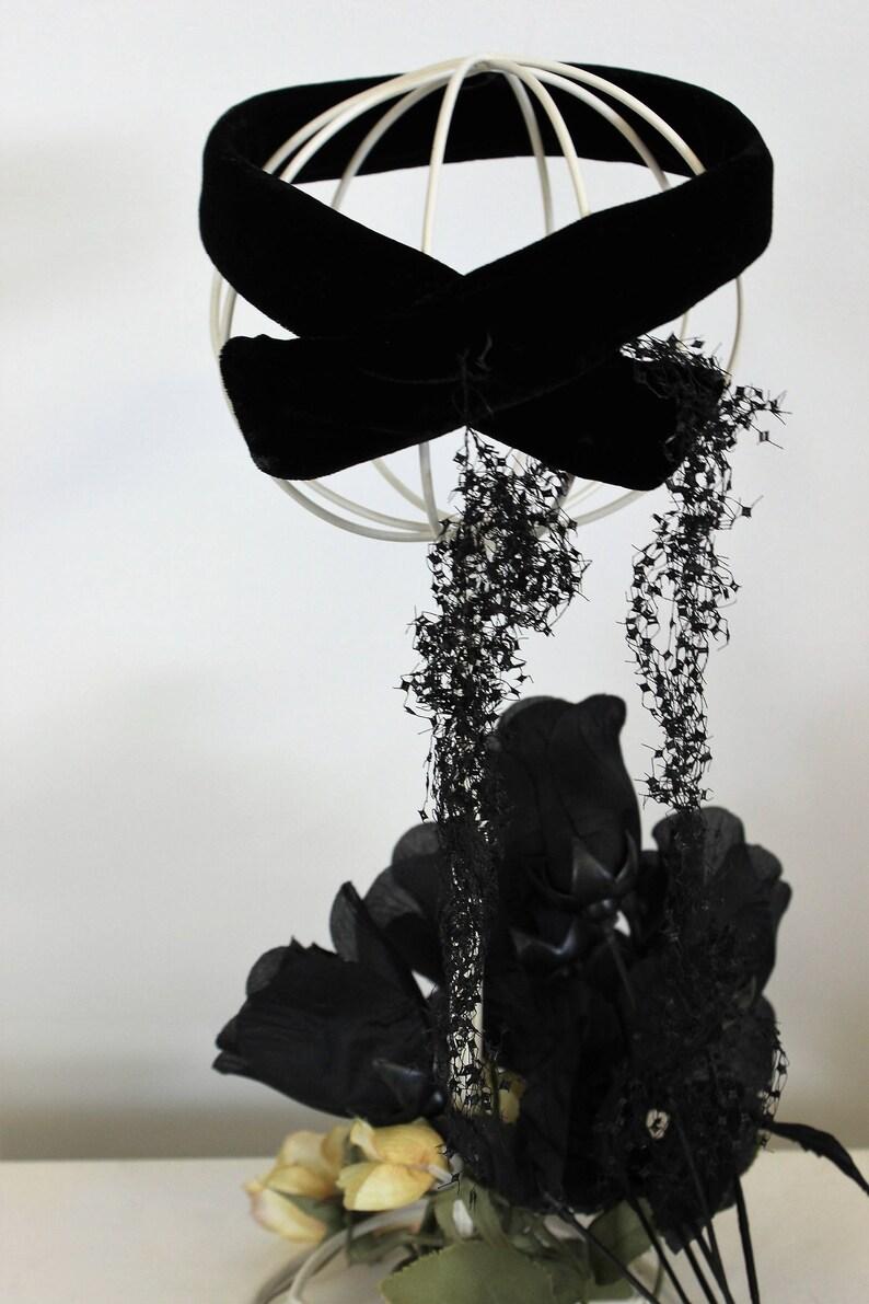 29ce52dc95846 Vintage 1950s Hat   Black Velvet Fascinator With Veil