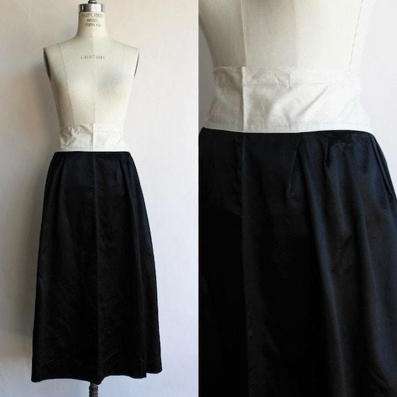 Vintage 1910s Black Skirt / Antique Black Silk Sa… - image 1