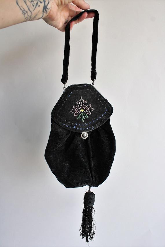 Vintage 1910s Purse / Antique Black Velvet Reticu… - image 2