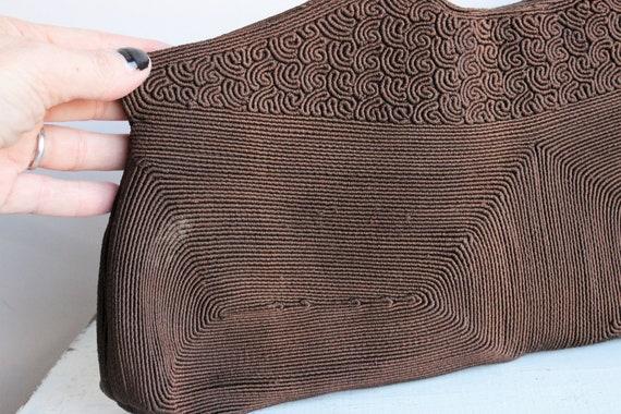 Vintage 1940s Purse / Brown Corde Handbag by Luxo… - image 8