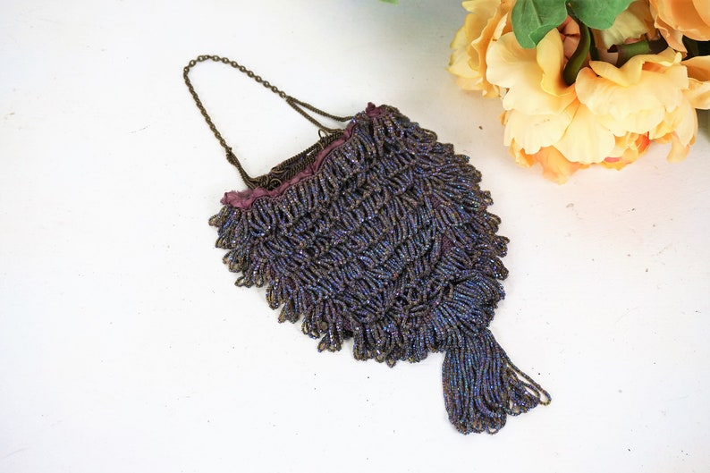 Periods & Styles Antique Crochet Purple Iridescent Beaded Handle Long Fringe Lined Flapper Purse Without Return