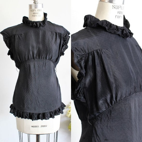 Vintage 1930s Blouse / Black Rayon Blouse With Key