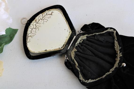 Vintage 1910s Purse / Antique Black Velvet Reticu… - image 7