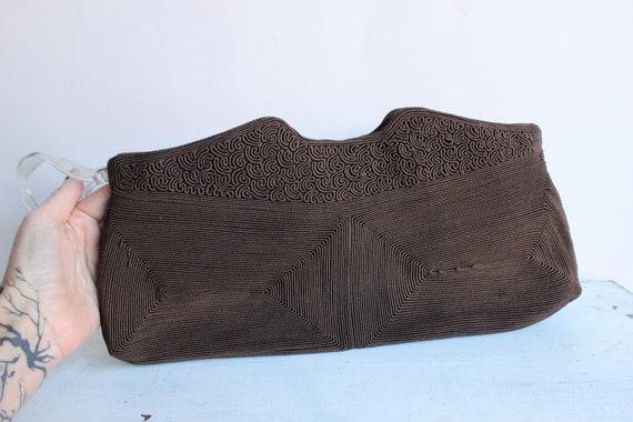 Vintage 1940s Purse / Brown Corde Handbag by Luxo… - image 4