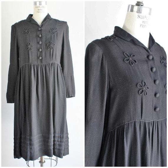 Vintage 1940s Black Wool Dress / Soutache and Pint