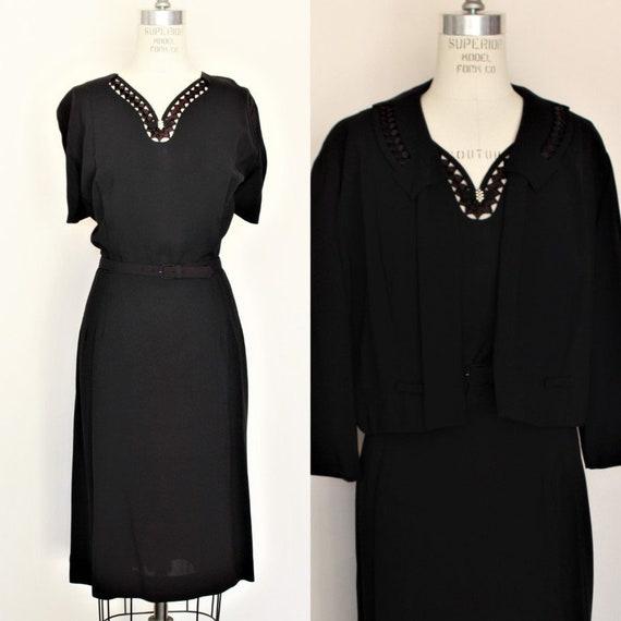 Vintage 1940s 1950s Black Dress With Belt and Jack