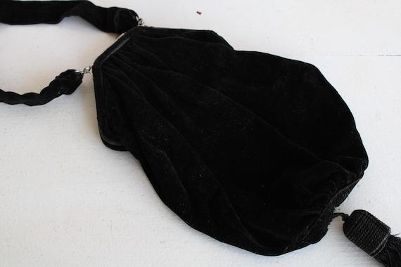 Vintage 1910s Purse / Antique Black Velvet Reticu… - image 10
